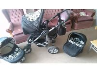 Baby Pram Buggy Stroller 3in1 Pushchair Car Seat Carrycot Travel