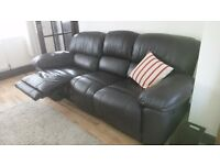 Gorgeous 3seat chocolate leather reclining sofa+chair, 1yr old, hardly used from Oak furniture land