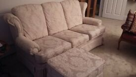 3 seater cream sofa with footstoll VGC