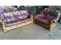 Burgundy Leather Suite on Solid Wood Frame