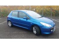 2006(06)PEUGEOT 307 1.6 HDi S 110BHP MET BLUE,NEW MOT,BIG MPG,CLEAN CAR