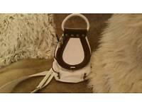 white & brown Italian leather bag