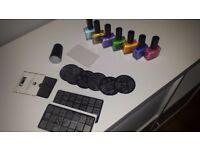 Set of nail polishes with nail art stamping set