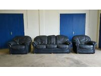DARK BLUE LEATHER SET 3 SEATER SOFA / SETTEE / SUITE & 2 ARMCHAIRS DELIVERY AVAILABLE