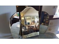 Shaped Cloth-covered Wooden Dressing Table with Three-way Mirror in Good Condition