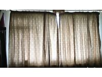 3 pairs of pure cotton curtains in excellent condition with tiebacks