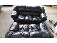 Sofa 2+3 seats black leather