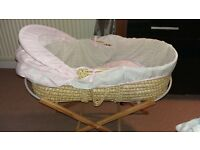 pink and white polka dot moses basket with stand. excellent condition.