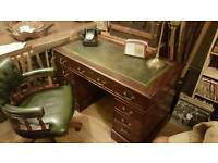 Pedestal desk and matching captains chair