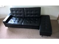 Black Faux Leather Sofa Bed (Description and size included)