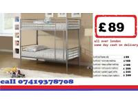 Convertible Metal Bunk Frame in two single Frames available/ Bedding