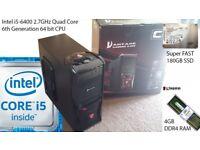 Ultimate i5 Quad Core 6th Gen PC, Fast 4GB DDR4 RAM, Super FAST 180GB SSD, Intel HD 530, HDMI, Win10