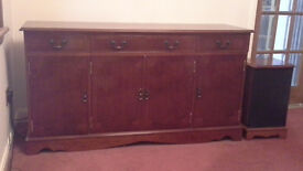Sideboard (and 2 matching speaker cabinets if wanted) ; yew highly polished wood Excellent condition
