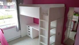 Ikea Loft bed combo w 3 drawers/2 doors STUVA White. Collection only.
