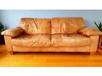 Brown/Tan Leather 3 piece suite