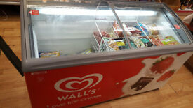 Wall's branded ice cream display chest freezer Vista 18 LED Glass Top