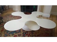 Modern White Glass spinning coffee table