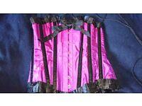 Satin purple/ pink steel boned over bust corset