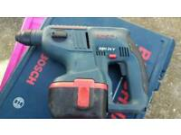 BOSCH GBH 24V SDS ROTARY HAMMER DRILL, 2 BATTERIES + CHARGER +CASE