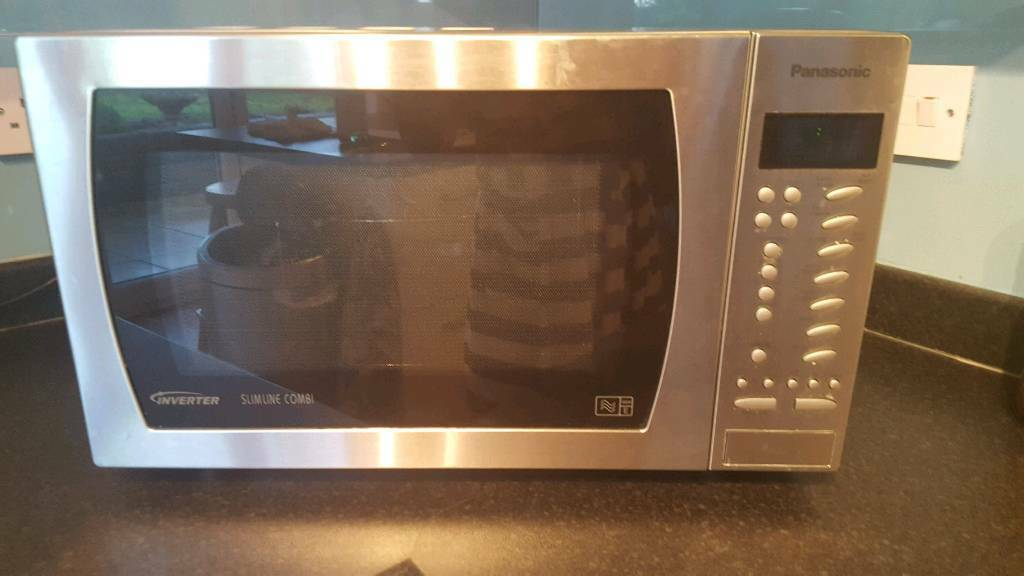 Panasonic Inverter Slimline Comi Microwave Oven In Brush Stainer Steel Excellent Condition