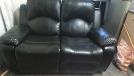 REDUCED BLACK 2 SEATER RECLINER SOFA