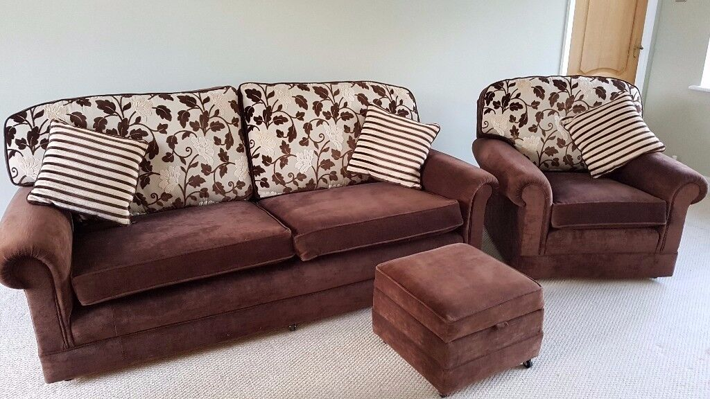 Settee. Arm Chair and Foot Stool