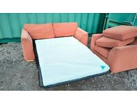 Sofa bed, armchair, footstool DFS| Free delivery