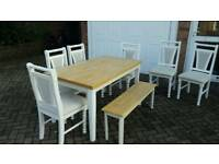 Dining room table 6 chairs and a bench