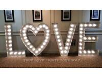 5ft Hand Crafted Aluminium Light Up LOVE Letters With Fairground Style LED Lights For Hire £99.00
