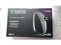 Belkin AC1200 Wi-Fi Dual-Band AC+ Gigabit Modem Router. New.