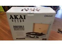 Akai Briefcase Style 3-Speed Portable Turntable with Built-In Speakers, Supports Vinyl.