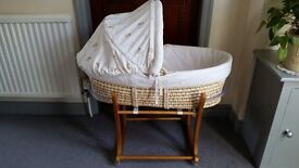 MOTHERCARE MOSES BASKET & WOODEN ROCKING STAND - EX COND.