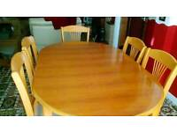 SOLD Dining table with 4 chairs and 2 carver chairs.
