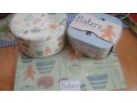 Cake tins, mugs and glass worktop saver