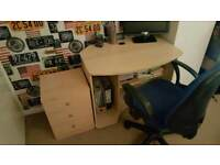 Computer desk chair and drawer