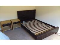 Bed base plus headboard and two matching bedside tables in mock brown leather