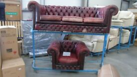 PRE OWNED Chesterfield 3 Seater Sofa + Club Chair in Ox Blood Leather