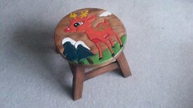 Child's Wooden Stool. New 23 cms High