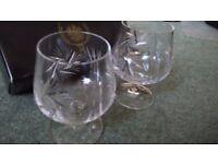 Bohemia Crystal 2 x 250ml brandy glasses (Pinwheel Symphony Collection) made in Czechoslovakia