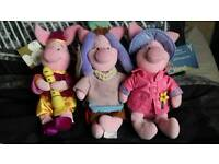 3 Disney Piglets with tags.