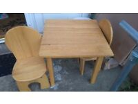 Childrens Wooden table & 2 Char set