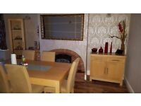 Oak Dinning Table with Six Chairs And Matching Shelving Unit