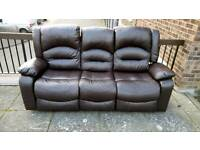 3 seat recliner leather sofa free