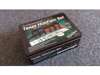 Jackpot Poker Professional Texas Hold 'em Set in Tin. Felt Mat, Chips, Instructions & Cards. USED!!!