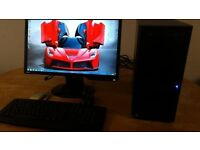 "SSD Custom PC Gaming New Business PC Desktop Tower & Benq 19"" Widescreen LCD SAVE £40"