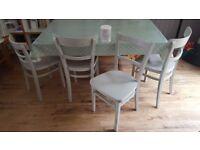 4 Wood Shabby Chic Chairs