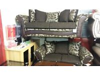 BOXER 3+2 HAND MADE SOFA IN BROWN GOLD FLORAL FABRIC WITH BODY IN FABRIC £339