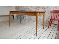 Hardwood Dining Table with Drawer Space Saving Extending Mid-Century Living