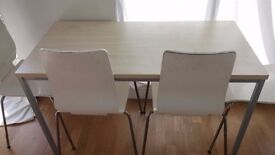 DINING ROOM TABLE DESK FOR BEDROOM OFFICE LIGHT WOOD TOP STEEL FRAME MODERN CONTEMPORARY STYLE £39