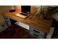 A Stylish and Original Upcycled Desk With Drawers and Oak top